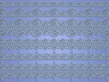 Ethereal cold light lavender blue background with delicacy of crochet laces  Stock Photo