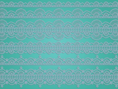 Soft light blue crochet patterns over greenish turquoise background Stock Photo - 12622656