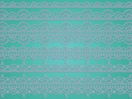 sofisticated: Soft light blue crochet patterns over greenish turquoise background