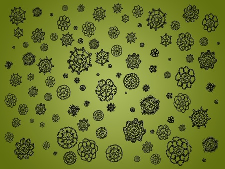 similitude: Olive green background with black crochet circles as spots Stock Photo