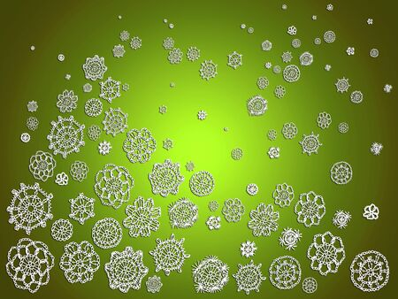Bright green background for Christmas with creative handmade crochet patterns