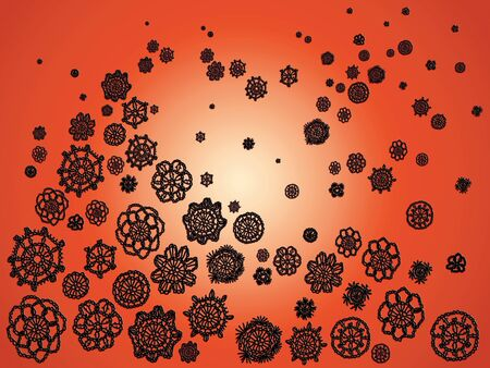 picots: Black crochet patterns floating over bright orange backdrop