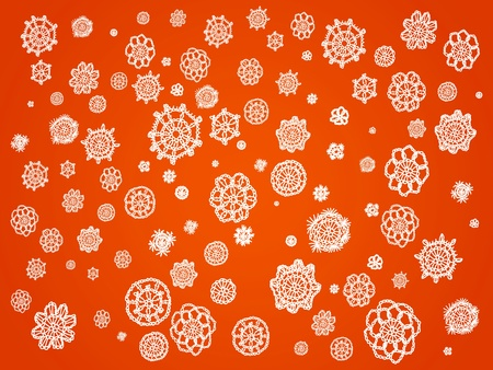 Halloween ornamental abstract background in orange with white crochet details photo
