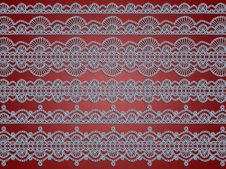 sofisticated: Elegant light blue crochet laces patterns over redish brown background Stock Photo