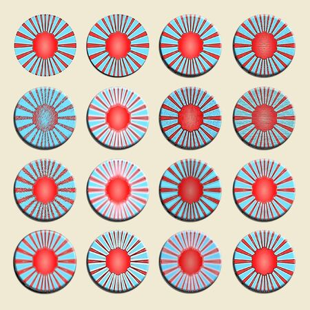 Set of tricolor circular backgrounds in red white and blue isolated over beige photo