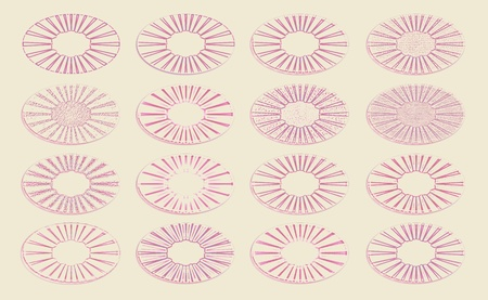 Bunch of pink wine glasses traces over beige background photo