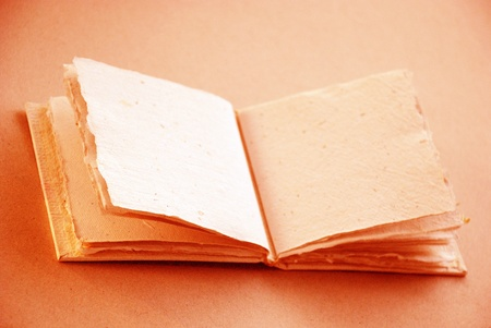 Scrapbook of recycled handmade paper in sepia or light orange photo