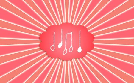 simetry: Music, note, notes, cloud, red, background, conceptual