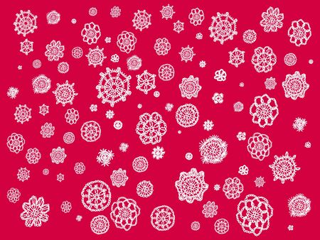 Red backdrop with crochet flowers in white fabric photo