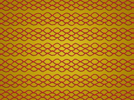 Red crochet web isolated over yellow background photo