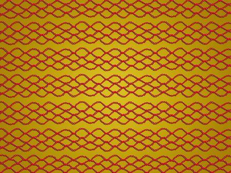 picot: Web crochet Red isolato su sfondo giallo Archivio Fotografico