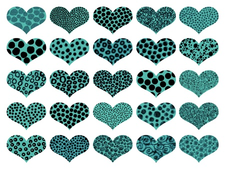 Blue textured isolated hearts set with animal prints photo