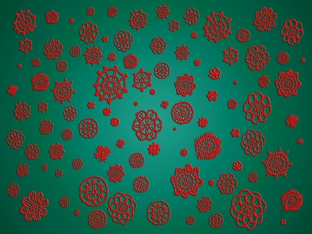 misteries: Christmas background with crochet in red and green