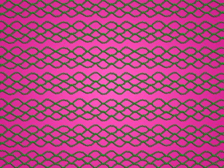 magentas: Green web of crochet links isolated over pink background