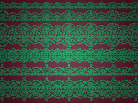 sofisticated: Elegant sober background for Christmas in green and redish purple with crochet patterns