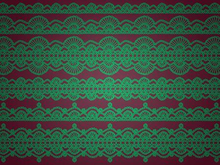 sobrio: Elegante sobriedad de fondo para la Navidad de color verde y rojizo p�rpura con los patrones de ganchillo