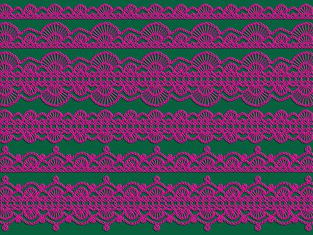 Pink crochet laces over green backdrop photo