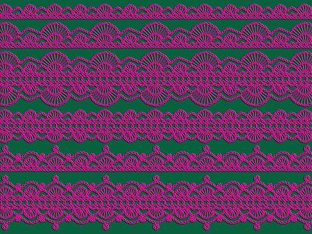 picot: Pizzi all'uncinetto rosa su sfondo verde