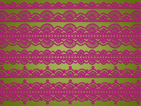 Olive green light background with pink crochet elegant laces photo