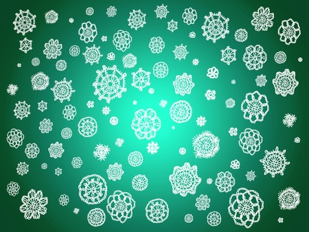 picots: Luminous green background with white crochet circles like snowflakes