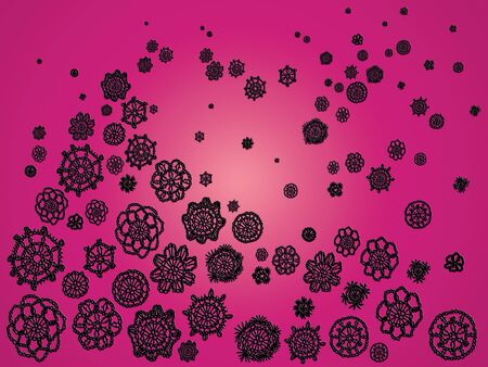 similitude: Black crochet patterns over pink backdrop for Christmas Stock Photo