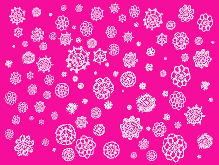 picots: White crochet flowers in circles isolated over pink backdrop Stock Photo