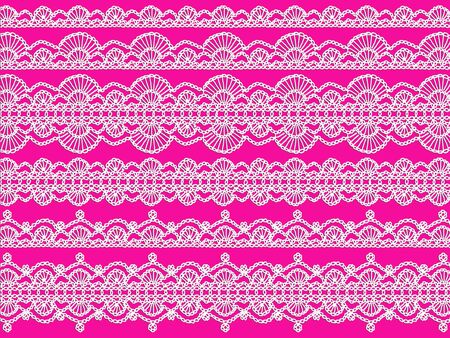 magentas: White crochet laces patterns isolated over pink backdrop