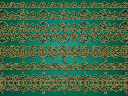 Brownish green crochet laces over green background photo