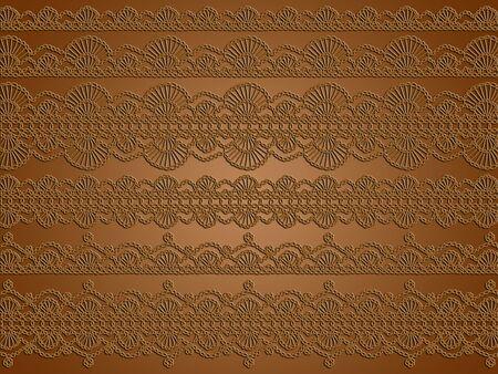 picot: Eleganza, elegante, uncinetto, fondo, marrone, merletti