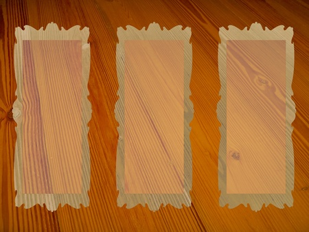 Three rectangular frames with transparency over old wood background photo