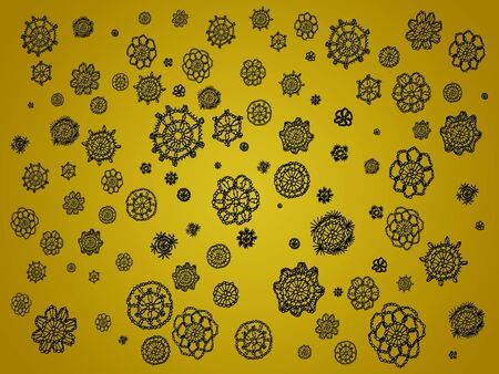 similitudes: Black crochet flowers in circles over golden yellow background Stock Photo