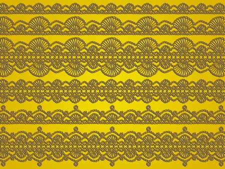 Green crochet elegant laces over golden yellow background photo
