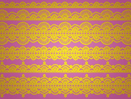 sofisticated: Yellow vintage patterns over pink backdrop Stock Photo