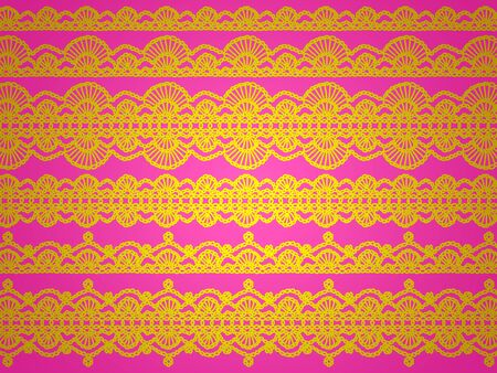 intense: Brilliant funky background with yellow crochet pattern over intense pink
