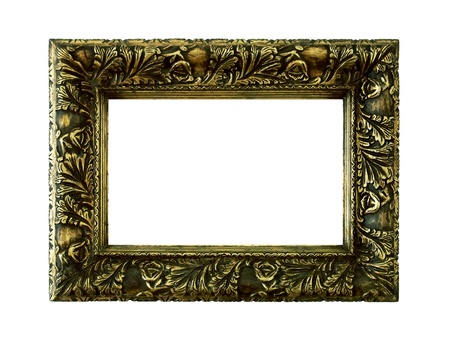 marquees: Greenish golden vintage wood frame isolated over white