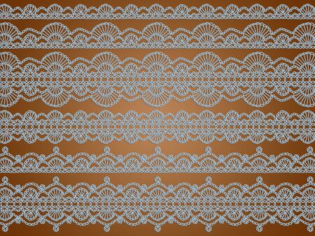 sofisticated: Light blue crochet laces over brown backdrop Stock Photo