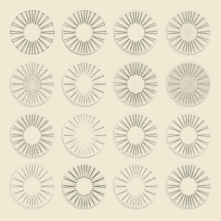 Circles, glasses, traces, patterns, set, silhouettes photo