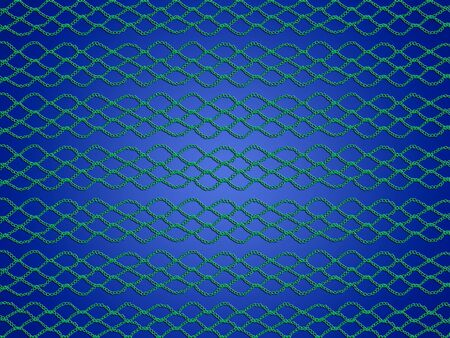 Green thin crochet web laces over blue background photo