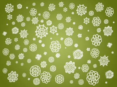 similitude: White crochet circles over olive green background