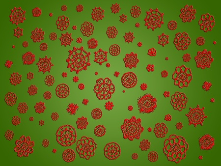 snow chain: Red crochet flowers isolated over green background for Christmas