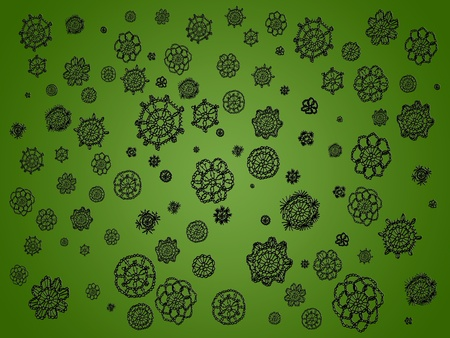 misteries: Black crochet spots isolated over green backdrop