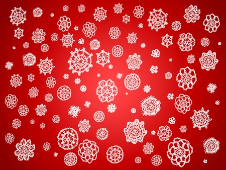 White crochet circles over red background Stock Photo - 12808130