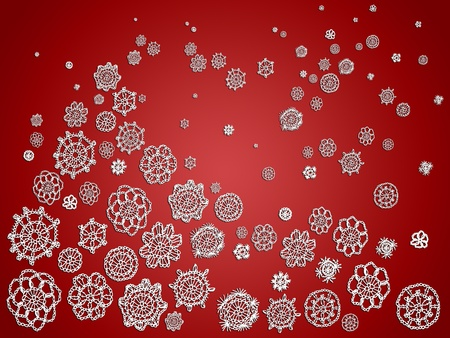 Christmas background with crochet romanticism