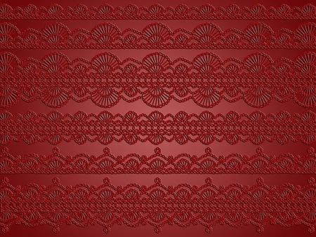 textil: Red elegant sober background with transparent femenine crochet patterns