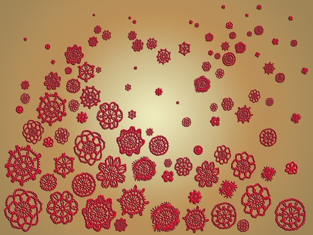 misteries: Red circles of crochet over beige background