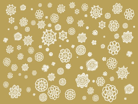 snow chain: White crochet spots over beige backdrop Stock Photo