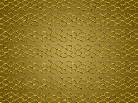 Yellow crochet simple web over golden background photo