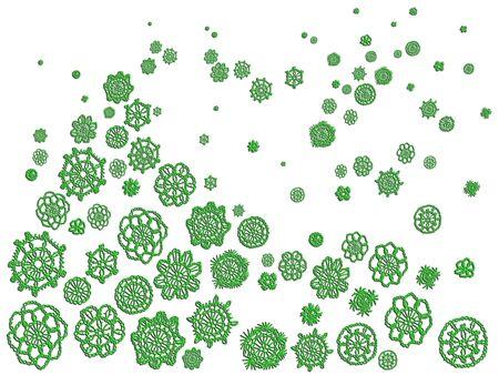 Green christmas crochet pattern over white backdrop photo