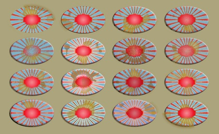 oxydation: Basges, ovals, set, group, backgrounds, patriotic Stock Photo