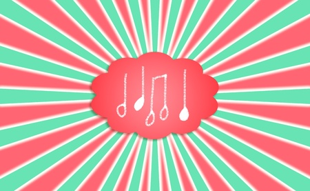 Musical notes in a cloud balloon as background in red green and white for Christmas photo